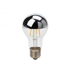 ΛΑΜΠΤΗΡΑΣ LED E27 4W FILAMENT HALF SILVER GLASS  Θερμού φωτισμού 2700K